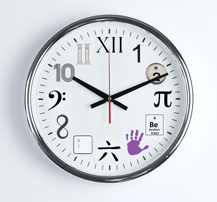 Clock with alternate numbers